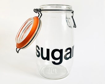 """Vintage Glass """"Sugar"""" Storage Container   Retro Storage Jar with Funky Lettering"""