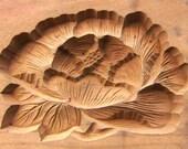 Japanese Kashigata - Vintage Kashigata - Cake Mold - Vintage Japanese Wood Mold - Traditional Japanese  -  Flower Mold -  Peony