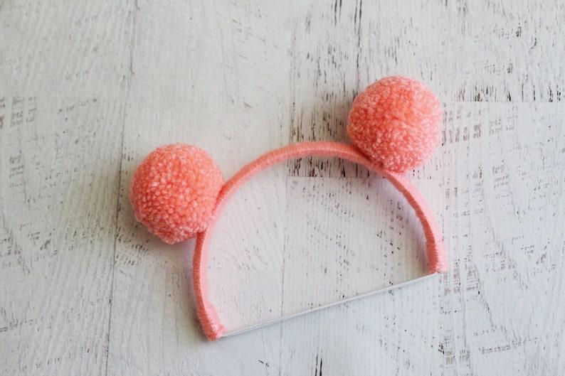 vintage peach headband little pom ears Blythe doll headband