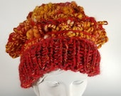 Hand-knit Orange Hat - He...