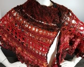 Red Knit & Crochet Shawl/...