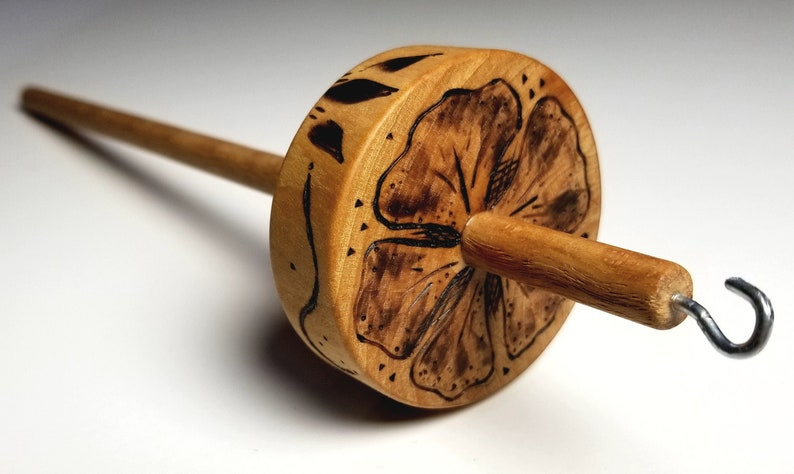 Wooden Top Whorl Drop Spindle Hibiscus Pyrography on Oak 2 image 1
