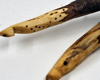 Rustic Wooden Crochet Hooks- Hand Carved with Pyrography Sizes J - N.