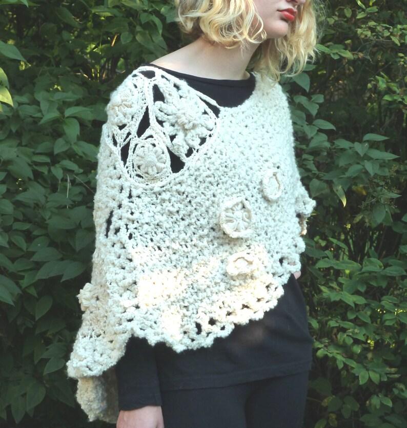 SALE Women's Freeform Crocheted Cape  Ivory image 0