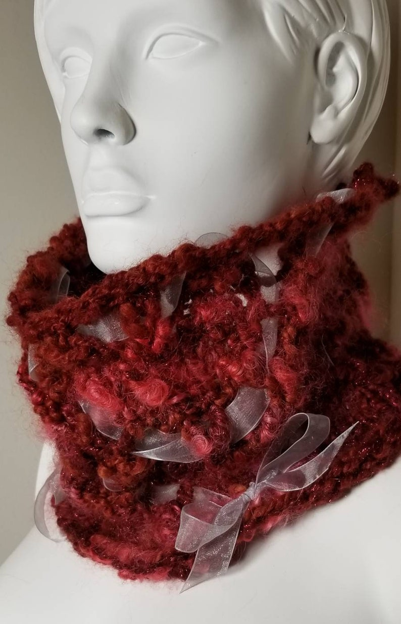 Neck-warmer Red with Grey Ribbons Wool and Alpaca Chunky image 1