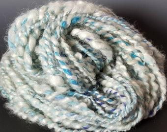 Art Yarn- Ocean Waves: Handspun Wool & Silk Chunky Yarn