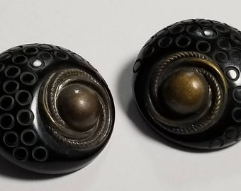 Buttons, Vintage Bakelite and Bronze. Shank Style Coat Buttons. Almost Black.