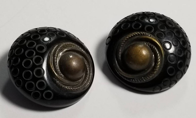 Buttons Vintage Bakelite and Bronze. Shank Style Coat image 0