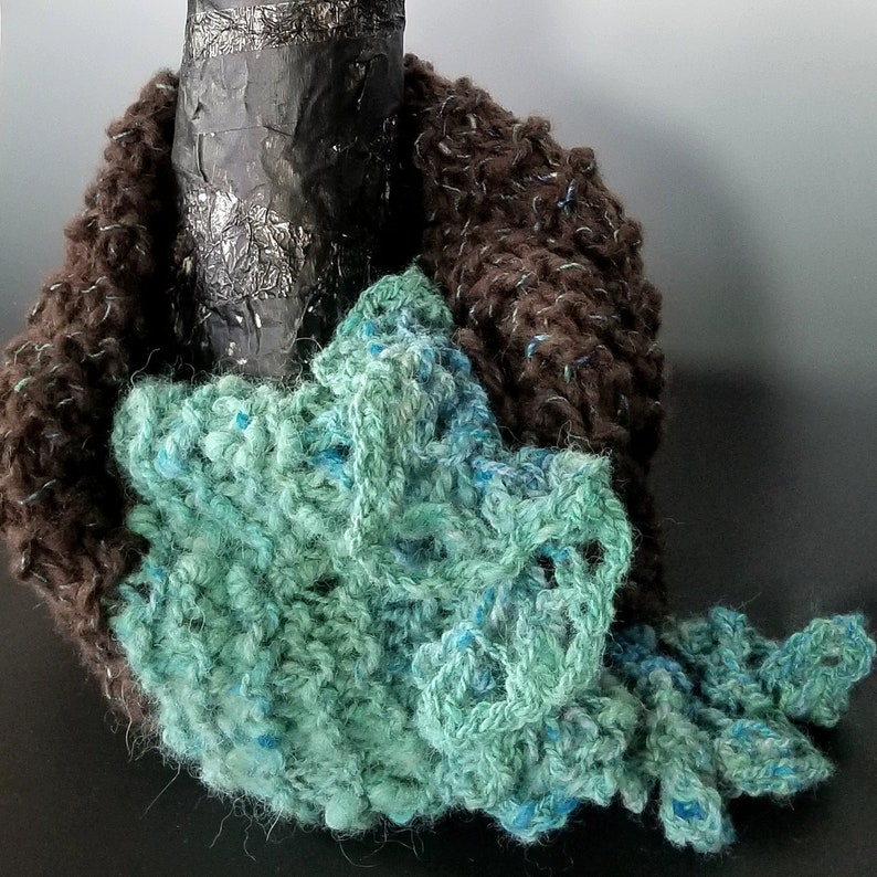 Neck-warmer Brown and Aqua Wool and Alpaca Chunky Knit One image 1