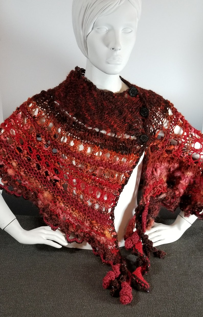 Red Knit & Crochet Shawl/Cape-The Red Goddess Babalon image 0