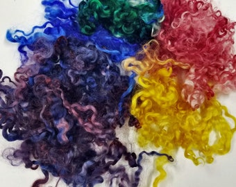 Wensleydale Locks, Hand-dyed Multi- Colors, Red, Blue, Yellow, Purple, Teal for spinning or felting or doll hair.