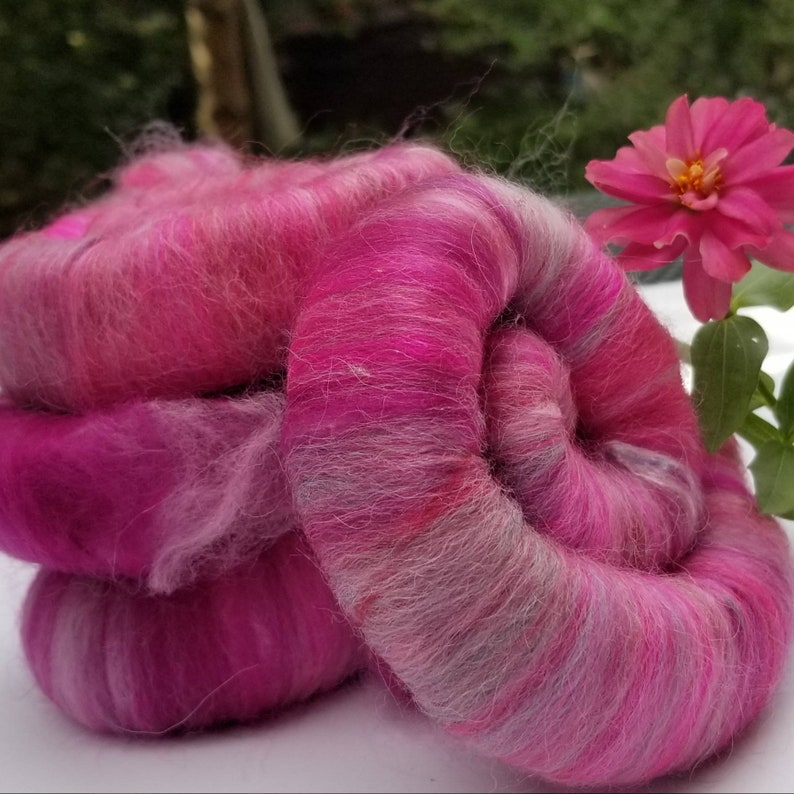 Rolags Wool and Silk Perfect Pink Blend for Yarn image 0