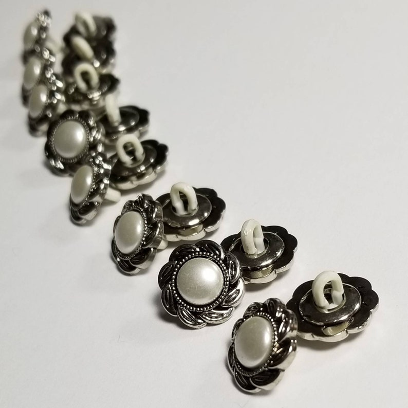 Pearl Look Buttons. Plastic Shank Back Buttons. Silver Look image 1