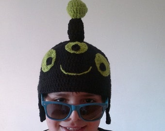 SALE Free Shipping to USA - Black Alien Hat -  Adult  Size Inspired Reddit Alien Hat Earflap - Ready to Ship