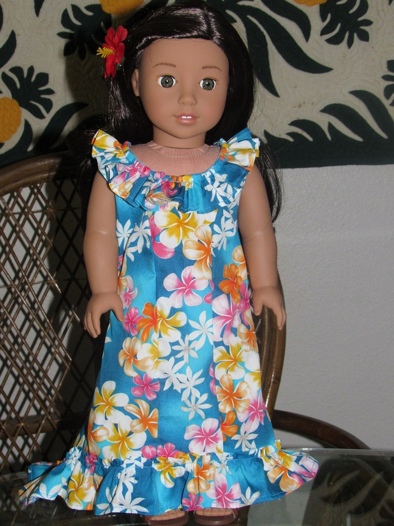 55e61dc577baa Hawaiian Holoku Dress for American Girl Nanea Kanani 18 inch | Etsy