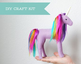 Unicorn Stuffed Animal Kit. Make Your Own Stuffed Unicorn (DIY Sewing Craft Kit, Fun Sewing Activity or Gift)