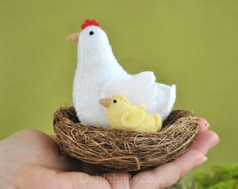 Felt Animal Pattern Printable PDF, Felt Chicken Barnyard Animals Toys, Hend and Chick Sewing Pattern Easter Craft Project