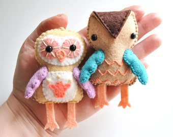 DIY Owl Felt Ornament Kit * DIY Sewing Craft Kit * Make Your Own Owl Ornaments