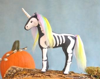 Halloween Unicorn Skeleton Felt Animal Pattern