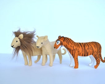 Lion and Tiger Felt Animal Pattern PDF & SVG Files - Make Your Own Stuffed Animals