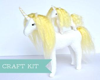 DIY Mama and Baby Unicorn Kit * Felt Unicorn Sewing Kit * Unicorn Lovers and Crafters Gift. DIY Unicorn Craft.