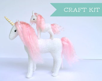 DIY Mommy and Me Unicorn Sewing Kit * Felt Unicorn Craft Kit * Unicorn Lovers and Crafters Gift. DIY Hand Sewing Felt Craft.