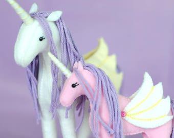 Stuffed Unicorn Sewing Pattern * DIY Crafts * PDF Felt Animal Pattern. Unicorn Plush Felt Stuffed Horses. Pegasus Alicorn Toy Sewing Pattern