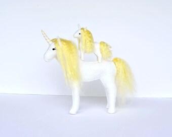 Felt Stuffed Unicorns Momma & Baby. Pair of Handmade Unicorns. Unicorn Lovers Gift.