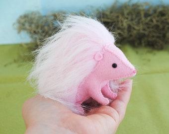 Pink Hedgehog Stuffed Animal Kit * DIY Hand Sewing Kit
