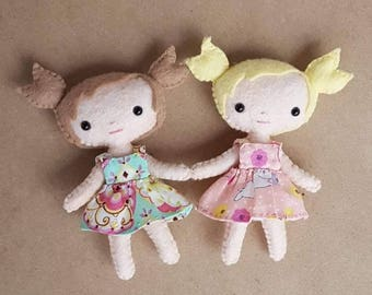 Mini Felt Doll Pattern,  Doll Sewing Pattern PDF, Make 4 Inch Pocket Dolls, DIY Dollhouse Miniatures,