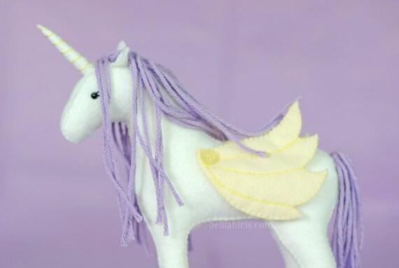 8 Felt Stuffed Unicorn With Wings Handstitched Felt Etsy