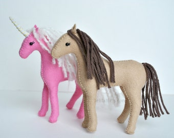 PdF Felt Horse Pattern, Waldorf Felt Animal Pattern, Stuffed Horse, Unicorn, or Pegasus Plush, DIY Stuffed Animal Sewing Pattern