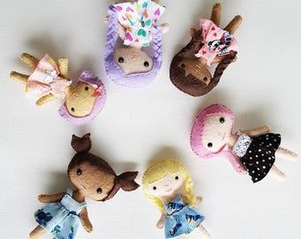 Custom Felt Mini Kawaii Dolls - Made To Order