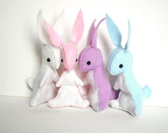 Rainbow Stuffed Bunny Sewing Kit * Make Your Own Felt Stuffed Bunnies! * DIY Craft Kit *   Felt Sewing Easter Craft, Gift