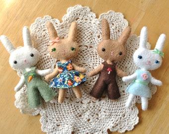 PDF Felt Doll Pattern. Make Your Own Mini Bunny Doll. Easter Bunny Doll Sewing Pattern. DIY Dollhouse Miniatures. Handmade Gifts. Hand Sewn.