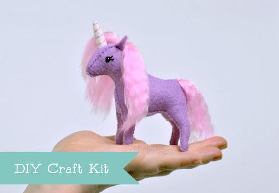Unicorn Kit Diy Stuffed Animal Felt Sewing Craft Etsy