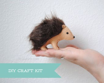 Stuffed Hedgehog Felt Animal Kit * DIY Sewing Craft Kit * Make Your Own Stuffed Animals, Pattern and Supplies, Crafter Gift