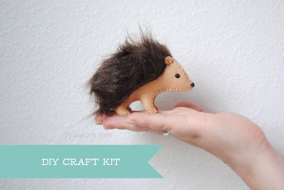 Stuffed Hedgehog Felt Animal Kit Diy Sewing Craft Kit Make Etsy