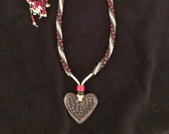 Kumihimo, adjustable necklace with ceramic black heart can be worn long or short.