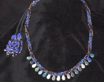 """Kumihimo royal blue/silver with """"dichro drops"""""""