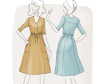 The Quincy Dress Women's PDF Sewing Pattern Size 6 to 24 A to D cup