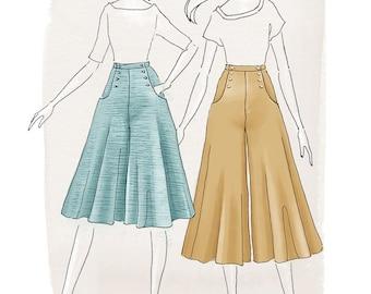 Original Sizes - Bastion Culottes Ladies PDF Sewing Pattern Multi Size 6 to 24