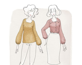 The Aisling Blouse Women's PDF Sewing Pattern Size 6 to 24 A to D cup