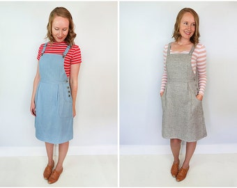The Pippi Pinafore Overall Dress Women's PDF Sewing Pattern Size 6 to 24 A to D cup