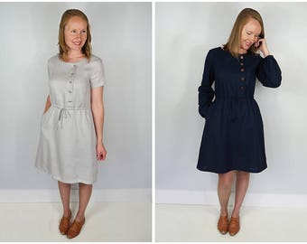 The Mayberry Shirt Waist Drawstring Dress Women's PDF Sewing Pattern Size 6 to 24. With A B C & D cup
