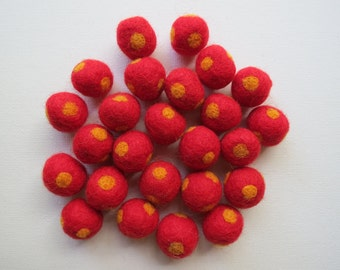 Polka Dot Felt Baubles - Red - 1.0 oz for Spinning, Knitting, Sewing, Embellishments, Crafting