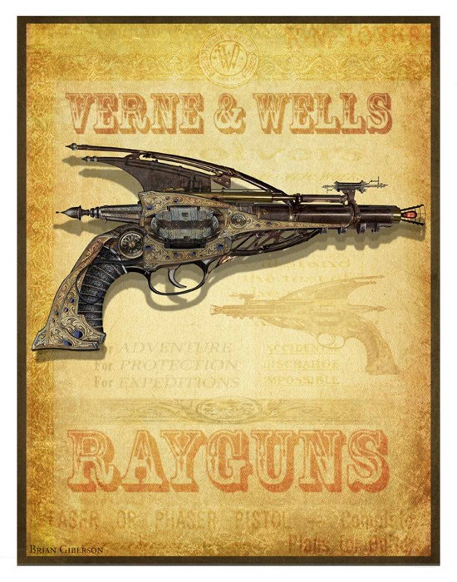 steampunk vintage ad for raygun