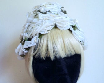 Vintage 1960 s Hat . White Floral Beehive Bucket Hat . Flower Pedal Hat .  Wedding Hat . Garden Party Hat . MODERN MISS Label c229d9a735ea