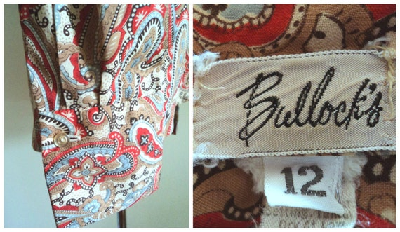 Vintage 1970's Ladies Blouse . Pussy Bow Paisley … - image 5