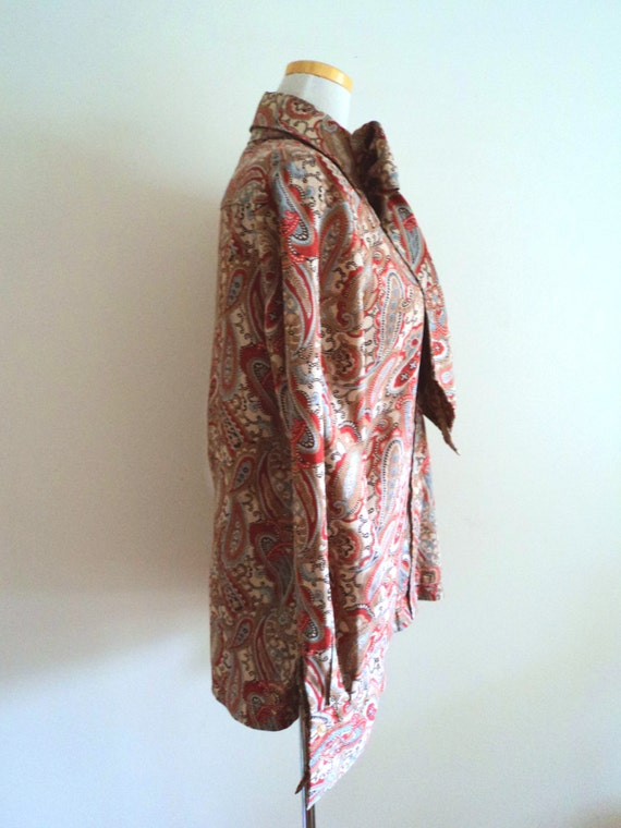Vintage 1970's Ladies Blouse . Pussy Bow Paisley … - image 3